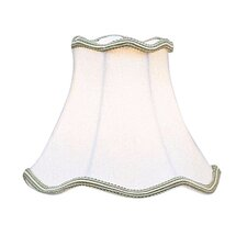 Scallop Bell Clip Chandelier Shade with Green Trim in Off White