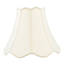 Top and Bottom Scallop Shantung Silk Bell Lamp Shade with Fancy Trim in Off White