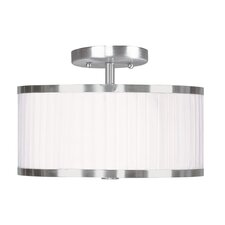 Park Ridge Flush Mount with White Pleated Shade in Brushed Nickel