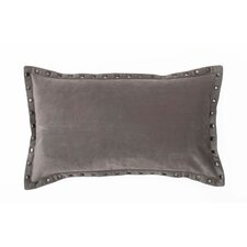 Payton Velvet Pillow with Nailhead Border and Feather Fill
