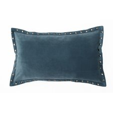 <strong>Thro</strong> Payton Velvet Pillow with Nailhead Border and Feather Fill