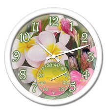 """Springfield 14"""" Tropical Flowers Clock and Thermometer"""