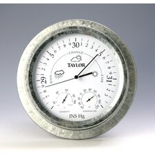 """Taylor Precision Products 9"""" Weather Station Wall Clock"""