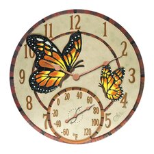 "Mosaic Butterflies Clock with 14"" Thermometer"