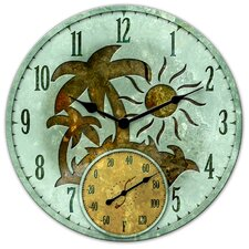 "Tropical Island Clock with 5"" Thermometer"