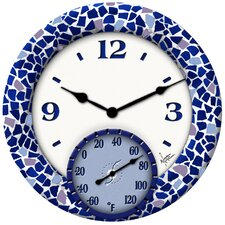 "Mosaic Sea Clock with 14"" Thermometer"