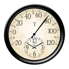 "Decorative Thermometer with 14"" Clock"
