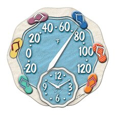 "Sandals Thermometer with 12"" Clock"