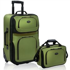 U.S. Traveler - RIO Expandable 2 Pc Luggage Set in Green