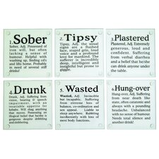 <strong>Kikkerland</strong> Drunk? Glass Coasters (Set of 6)