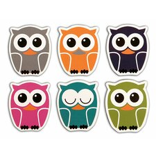 <strong>Kikkerland</strong> Owl Rubber Magnets (Set of 6)