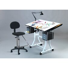 Weber Creation Station Melamine Drafting Table with High Chair