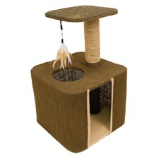Burlap Cat Condo and Perch