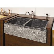 "Farm Charm 33"" x 19"" Double Bowl Farmhouse Granite Kitchen Sink"
