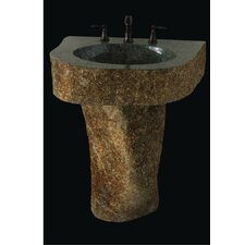 <strong>Quiescence</strong> Earthen Fantasy Mountainous Boulder Pedestal Bathroom Sink
