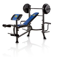 Standard Weight Adjustable Olympic Bench with 80 lbs Weight Set