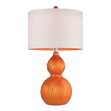 "Swirled Gourd 26"" H Table Lamp with Drum Shade"