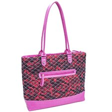 Allie Quilted Fabric with Croco Faux Leather Tote Bag