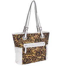 Melody Quilted Fabric with Croco Faux Leather Tote Bag