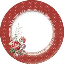 Katie Alice Scarlet Posey Spot Dinner Plate in Red