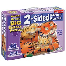 <strong>Patch Products</strong> 2 - Sided Sneaky Floor Puzzle - A Day at the Zoo