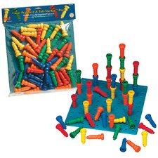 Large Tall - Stacker Pegs and Pegboard Set