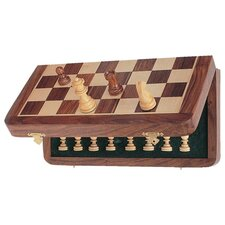 "<strong>Wood Expressions</strong> 7"" Folding Travel Chess Set"