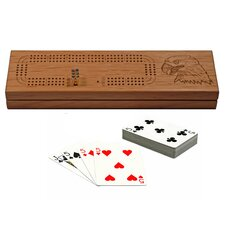 Three Track Cribbage Board with Cards and Storage