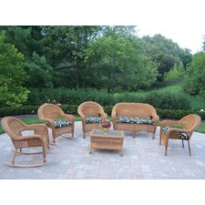 Resin Wicker 6 Piece Lounge Seating Group Set