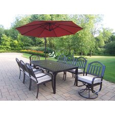 Rochester Dining Set with Cushions and Umbrella