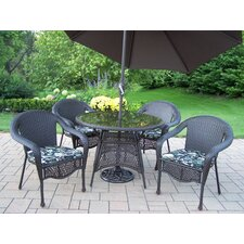 Elite Resin Wicker Dining Set with Cushions and Umbrella