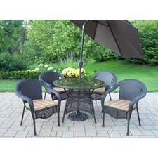 <strong>Oakland Living</strong> Elite Resin Wicker Dining Set with Cushions and Umbrella