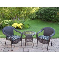 Elite Resin Wicker 3 Piece Lounge Seating Group Set