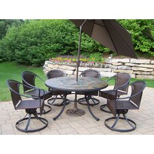 <strong>Oakland Living</strong> Tuscany Stone Art Dining Set with Umbrella