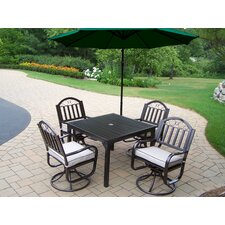 Rochester Swivel Dining Set with Cushions and Umbrella