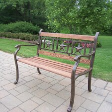 Triple Star Metal and Wood Park Bench