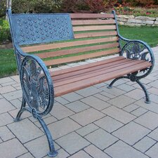 <strong>Oakland Living</strong> Proud American Wood and Cast Iron Park Bench