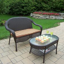 Elite Resin Wicker 2 Piece Lounge Seating Group Set