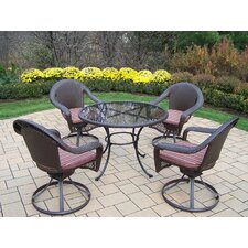 Elite Resin Wicker Swivel Dining Set with Cushions