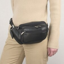 <strong>Travelon</strong> Black Leather Waist Pack with Organizer