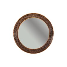 Braided Hand Hammered Round Copper Mirror