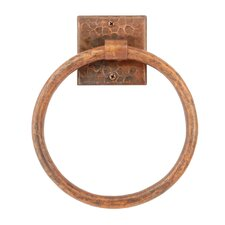 "7"" Wall Mounted Hand Hammered Copper Towel Ring"
