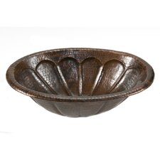 Oval Sunburst Self Rimming Hammered Copper Sink