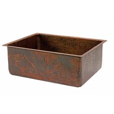 "<strong>Premier Copper Products</strong> 25"" x 19"" Hammered Single Bowl Kitchen Sink"