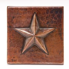 "<strong>Premier Copper Products</strong> 4"" x 4"" Copper Star Tile in Oil Rubbed Bronze"
