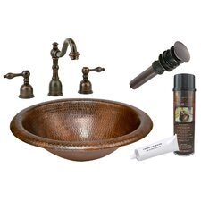 <strong>Premier Copper Products</strong> Wide Rim Self Rimming Hammered Bathroom Sink