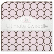 Ultimate Receiving Blanket® in Pastel Pink with Brown Mod Circles
