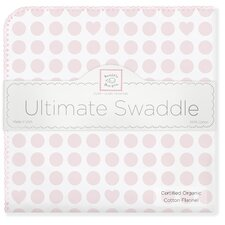 Organic Ultimate Receiving Blanket® in Pastel Pink Dots and Stars with Pastel Trim