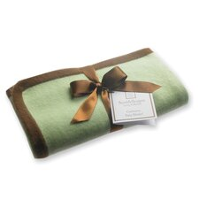 Cashmere Blanket in Pastel Lime with Mocha Trim