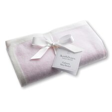 Cashmere Blanket in Pastel Pink with Barely Ivory Trim